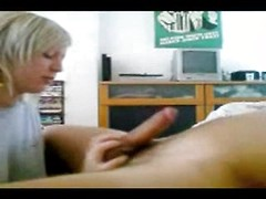 Chick in a tee shirt wants to give the best blowjob possible to her hubby