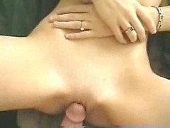 Her freshly shaved pussy looks perfect as her husband pounds the tight hole