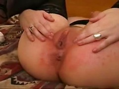Big breasts amateur in black stockings has interracial sex with creampie