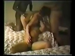 Hot interracial gangbang from three big black dicks for his lovely wife