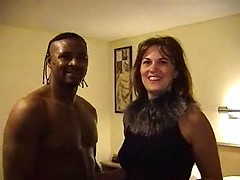 Cheating wife in a hotel room with her black lover as hubby films it