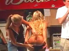 Amateur drunk lesbian babes teasing each other for kinky dudes in the bar
