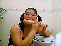 Mad toilet dildo action with nasty Chinese wife