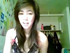 Skimpy lingerie sizzles on an Asian webcam girl into fingering her cunt