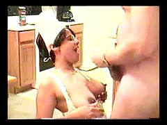 Sexy amateur nurse treating big cock with mouth and pussy till cum