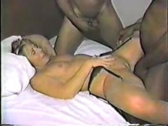 Horny amateur wife double fucked with two huge black cocks
