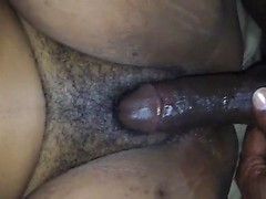 Juices and sexy cream leak from her black pussy as he pounds his dick inside